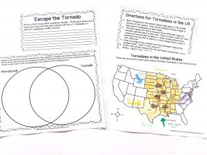 Printable notebooking pages about tornadoes including a Venn diagram and a map.