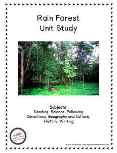 Cover of printable Rainforest FREE Unit Study with a picture of a rainforest and a list of subjects covered.