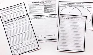 Frank Lloyd Wright Notebooking Pages, Timeline, Copy Work and Venn Diagram pages