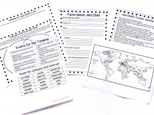 Printable pages: Facts about Julia Child notebooking page, map with directions, cut-outs for timeline and compare-contrast page.