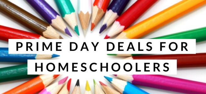Colored pencils with the text Prime Day Deals for Homeschoolers