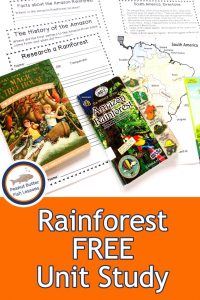 Pinnable cover for Rainforest FREE Unit Study showing books and printable pages