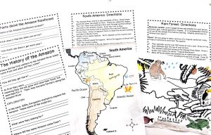 Printable unit study pages including a map of South America