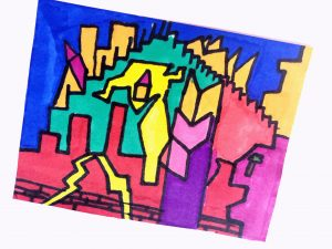 Abstract drawing with straight lines and variety of colors.