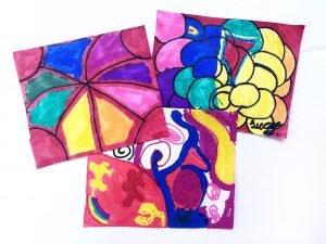Three drawings with elements of shape and colored with a variety of colors.