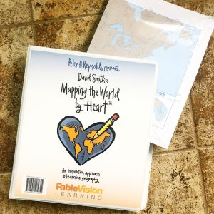 Notebook with Mapping the World by Heart on the cover.