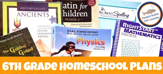 Cover for post 6th Grade Homeschool Curriculum Plans showing physics, spelling, latin, history and science curricula.