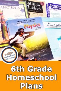 Pinnable cover for post 6th Grade Homeschool Curriculum Plans showing physics, spelling, latin, history and science curricula.