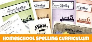 Cover of blog post Homeschool Spelling Curriculum that Makes Sense showing spelling books and related activities.