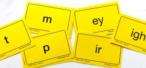Cards with phonemes on front that accompany spelling program.
