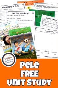 Pinnable cover for blog post, Pele FREE Unit Study, showing books and printables.