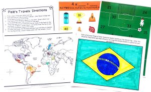 Printable map with directions, Brazilian flag colored in and 2 of the multiplication games.