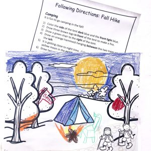Crayon colored picture of camping in woods with print out of directions.