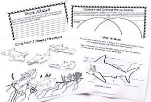 Printable pages of shark anatomy, compare and contrast, writing prompt, and coral reef picture.