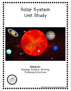 Cover of the printable Solar System Unit Study, showing title, picture of the solar system and the subjects covered.