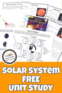 Pinnable cover for Solar System FREE Unit Study showing printables and book.