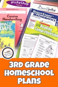 Pinnable cover for the blog post 3rd Grade Homeschool Plans showing reading comprehension workbook, math teacher's guide, writing book, spelling book and James and the Giant Peach.