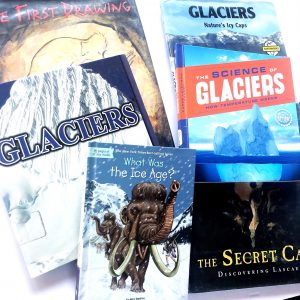 Variety of books about the ice age, glaciers, and first cave paintings.