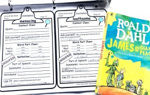 Printed vocabulary pages showing the words 'menacing' and 'loathsome' along with the James and the Giant Peach.