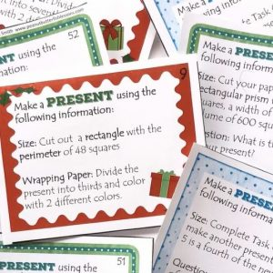 Christmas Present Perimeter, Area, Volume Task Cards