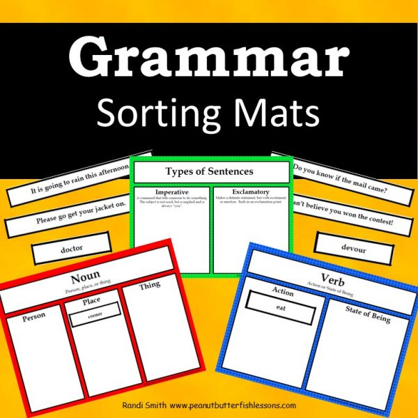 Cover for product Grammar Sorting Mats showing title and pictures of some of the mats and cards.
