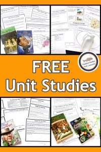 Pinnable cover for page listing free unit studies. Shows several printable sheets from the studies and the books that go with them.