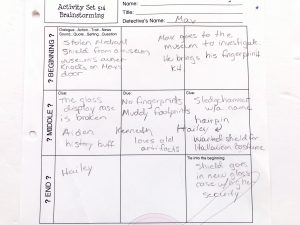 Worksheet with 9 boxes to plan a mystery story in.