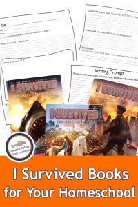 Pinnable Cover for I Survived Book Series post showing 3 books and 3 pages of notetaking sheets.