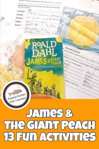 Pinnable cover for the blog post James and the Giant Peach 13 Fun Activities showing book, drawings, and charts.