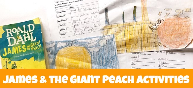 Cover of blog post James and the Giant Peach: 13 Fun Activities showing book, related drawings, and comprehension charts.