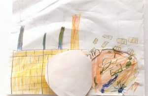 Child drawn picture of peach rolling into a factory with all the animals inside of the peach shown.