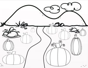 Black and white drawing of pumpkins in a field with mountains in the background and a path in the middle.