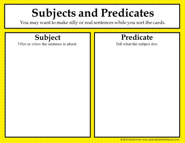 Subject and predicate sorting mat with large rectangles to place subjects and predicates.