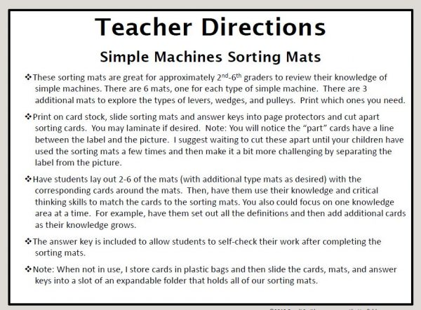 Directions to the teacher of how to prepare and present the simple machine sorting mats and cards to students.