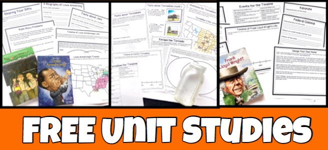 Cover for page, FREE Unit Studies showing three different printable unit studies with accompanying books.