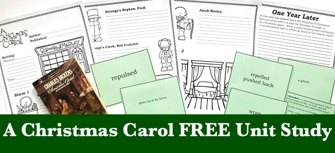 Cover of A Christmas Carol FREE Unit Study blog post showing printable notebooking pages, vocabulary cards and book.