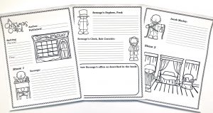 Printable notebooking pages with pictures to color for A Christmas Carol.