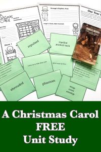 Pinnable cover to A Christmas Carol FREE Unit Study showing book, vocabulary cards, and printable notebooking pages.