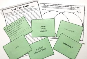 Writing prompt, Venn diagram and vocabulary cards for A Christmas Carol unit study.