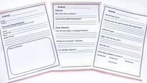 Three printable notebooking pages to research animals.