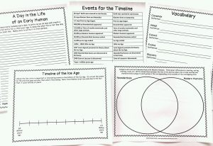 Printable timeline, writing prompt, vocabulary pages, and Venn diagram.