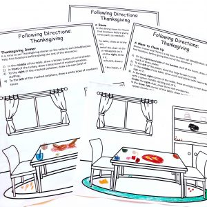 Printable pictures of a diningroom with drawings added and three printable sets of directions.