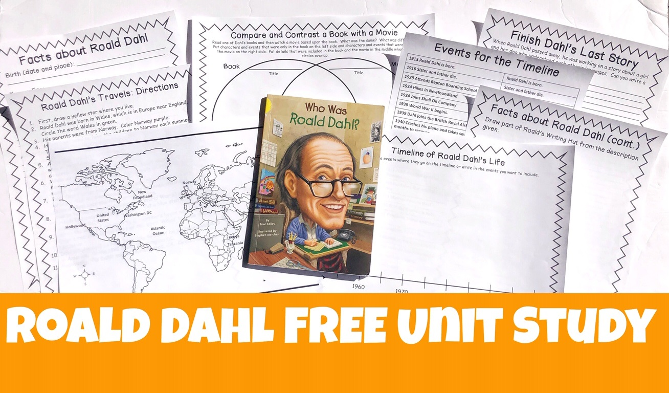 Cover for Roald Dahl FREE Unit Study post showing printable pages and book.