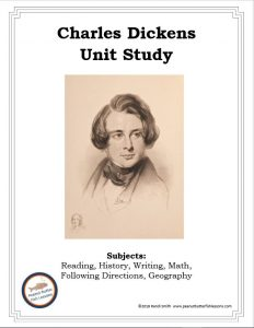 Cover of printable Charles Dickens FREE Unit Study showing a drawing of him and the subjects included.