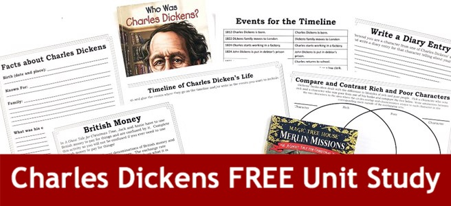Cover for blog post Charles Dickens FREE Unit Study showing books and printable pages.