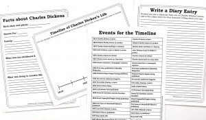 Printable pages for taking notes about Charles Dickens, completing a timeline and a writing prompt.