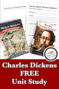 Pinnable cover for the post Charles Dickens FREE Unit Study showing two books and printable pages.