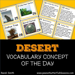 Cover for the product Desert Vocabulary Concept of the Day Cards