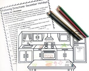 Printable directions and picture with drawings on it.