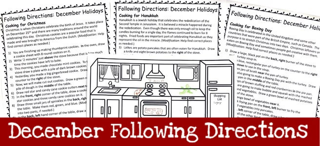 Cover for December Following Directions Packet Landing Page